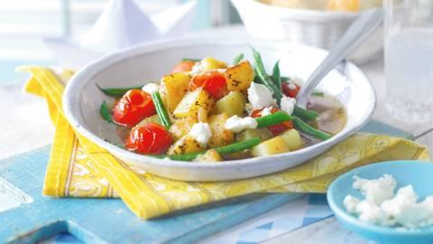 Dinstano povrće - boranija i krompir sa fetom